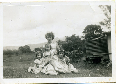 My mother Moira Bray (nee McGilvery) with her daughters - left to right Judith, Garland & Lesley Photo taken at Tomewin, Queensland in 1956  Photo from my mothers collection, Moira Bray