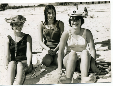 Beach Beauties in May 1967 Left to right - friend Heather Reiser, my sisters Judith (in centre) and Garland  Photo from my mothers collection, Moira Bray