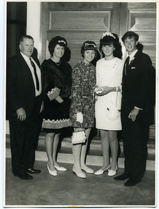Left to Right:  Len Donges (1925-2004); Betty Donges (nee English)(1934-1999); Doreen Donges (now McPhail); Lesley & Darryl Blake.  Photographed on 30 Aug 1968 at Isle of Capri Presbyterian Church, Gold Coast.