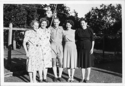 Brother & Sisters - taken 5 May 1946 Barbara Tolson, Sarah Tolson, Tom Tolson, Ivy Tolson, Flo Tolson  Aggie wrote on the back - Aggie (her daughter) wasn't there and Barbara had been sick doesn't look too good.  Photo from my Grandmother's Collection - May McGilvery