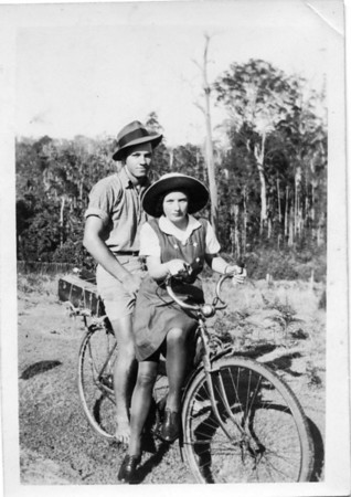 Maddock Descendants Thomas Arthur (Tom) Tolson (1924-2001) taking his niece Ruth Tinney in to catch the rail motor for the Nambour High School.  Photo from my Grandmother's Collection - May McGilvery