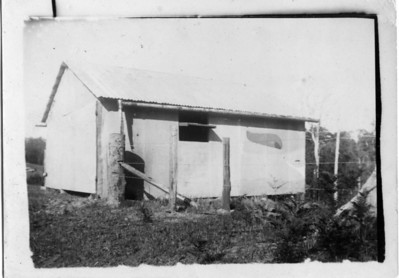 """Aggie Tolson (nee Maddock) sent this photo to my Grandmother.  She wrote on the back - """"Packing shed built of cemented bags but you can't see anything to pack.  The pineapple patches are a few yards away"""".  This photo would have been taken on Arthur & Aggie's property at Eudlo, Queensland where they grew pineapples.  Photo from my Grandmother's Collection - May McGilvery"""