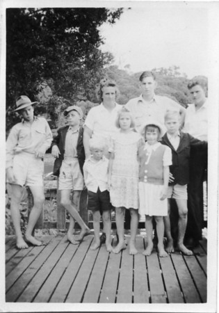 Hepple Family - Maddock Descendants Taken at Lake Eacham, Atherton Tablelands - Christmas 1950 Left to Right - Donnie Hepple, John Hepple, Agnes Hepple (nee Tolson), Malcolm Tolson, Friend F Jones,  Standing in front - Ian Hepple, Connie Hepple, Vera Hepple, Graeme Hepple  Photo from my Grandmother's Collection - May McGilvery