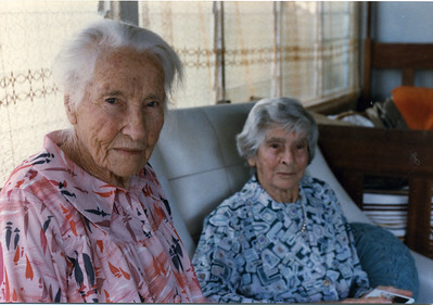 Agness Tolson celebrating her 100th birthday - she is photographed here with her niece (my Grandmother) May McGilvery (Munro).  Photo taken 15 Sep 1986