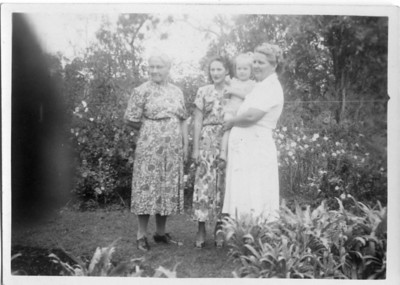 Four Generations - Agness Tolson (nee Maddock), Ruth Flanagan (nee Tinney), Sarah Tinney (nee Tolson) nursing baby M Flanagan  Photo from my Grandmother's Collection - May McGilvery