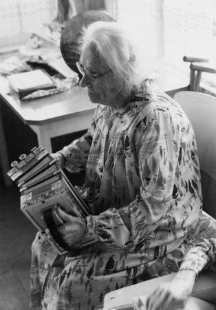 Aggie playing the accordian on her 100th birthday. Photo taken 15 Sep 1986.  Photo from my Grandmother's Collection - May McGilvery