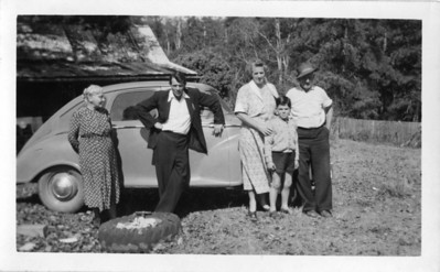 From left to right - Agness Tolson (nee Maddock), Frank Roser (who lived with the Tolsons'), Agnes Hepple (1911-1996) (nee Tolson) & Arthur Tolson (1879-1954) - Barry Wright standing in front, son of Florence Wright (nee Tolson)  Photo taken 1953  Photo from my Grandmother's Collection - May McGilvery