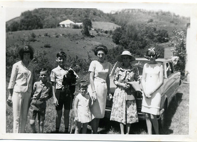 My grandmother, aunt and cousins.    From left to right:  Karen McGilvery; Bradley McGilvery; Craig McGilvery (nursing the dog); Michelle McGilvery; my aunt Beryl McGilvery (nee Greentree); my grandmother May McGilvery (nee Munro) and Sandra McGilvery.    This photo is undated but I am guessing around 1964. Photo taken at grandmother's farm at Crabbes Creek, New South Wales - her house is on the hill in the background.