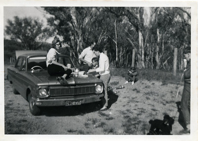 Sandra McGilvery is photographed on the bonnet of the vehicle - Sandra later became Sandra Harvey.  Many thanks to Kelly Fraser (Sandra's daughter).