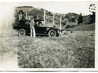 Tom McGilvery at Crabbes Creek, northern New South Wales with his Dodge Ure.  It looks like he has a pile of logs in the back of the vehicle.  Photo from my grandmother's collection - May McGilvery (nee Munro)