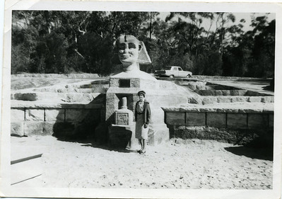 Barbara 'May' McGilvery (nee Munro) standing in front of the Sphinx War Memorial at Bobbin Head walking track.  No date on this photo.  Photo from my grandmother's collection - May McGilvery (nee Munro)