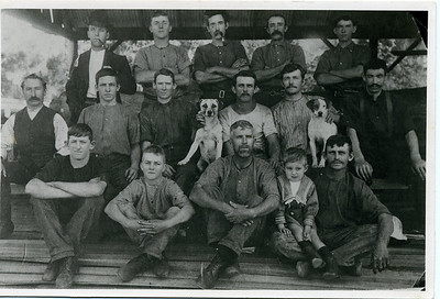 This photo was taken at the Mooloolah Saw Mill, Queensland around 1910 before my grandfather married my grandmother.  I don't know if they had already met but this photo was in her collection. 'Jack' John McGilvery is the man standing on the left in the back row.  Inscription on back reads - Mooloolah Saw Mill Jack McGilvery, Wright, Scott, Alf Kirby, R Russell, Jack Findlay, Nelson, Smith, Peters, Cristy, Winkles, x  x , Peter Scotts boy, x, John Knox, x,  Photo taken about 1910 Mill owners or lessee Dick Russell & Jack Gardner.  Owner at one time being r Ditburn or Ditburner.  Photo from my grandmother's collection - May McGilvery (nee Munro)
