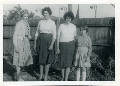 Four generations My grandmother, Barbara 'May' McGilvery (nee Munro)(1895-1992), her daughter Elizabeth Ellen 'Nell' Curd (nee McGilvery); Nell's daughter, Betty Margaret Donges (nee English)(1934-1999) and Betty's daughter Doreen Margaret McPhail (nee Donges),  Photo taken in May Alroy's (nee McGilvery) backyard at High Street, Southport  Photo from my grandmother's collection - May McGilvery (nee Munro).