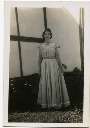 Nell Nell has written on the back of the photo - 'This is me done up in Betty's evening frock.  Its a bit short for me.'  Photo from my grandmother's collection - May McGilvery (nee Munro)