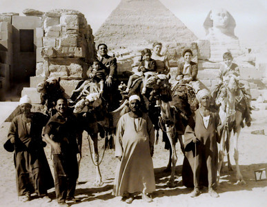 Circa 1958.  Cairo.  In front of the Pyramids.