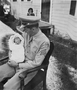 5 days old. Dad had leave for 5 days, then did not come home until war over 2 years later.
