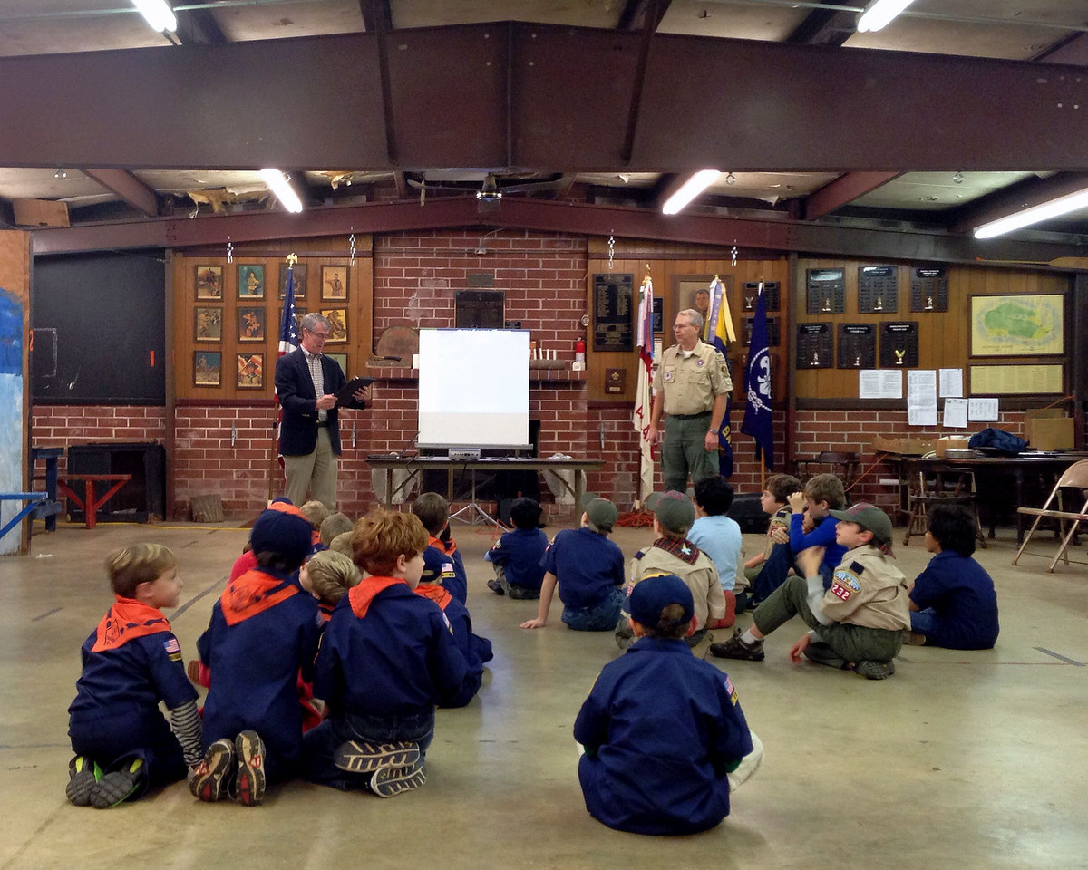 Scout pack meeting at Northwest Presbyterian Church hut