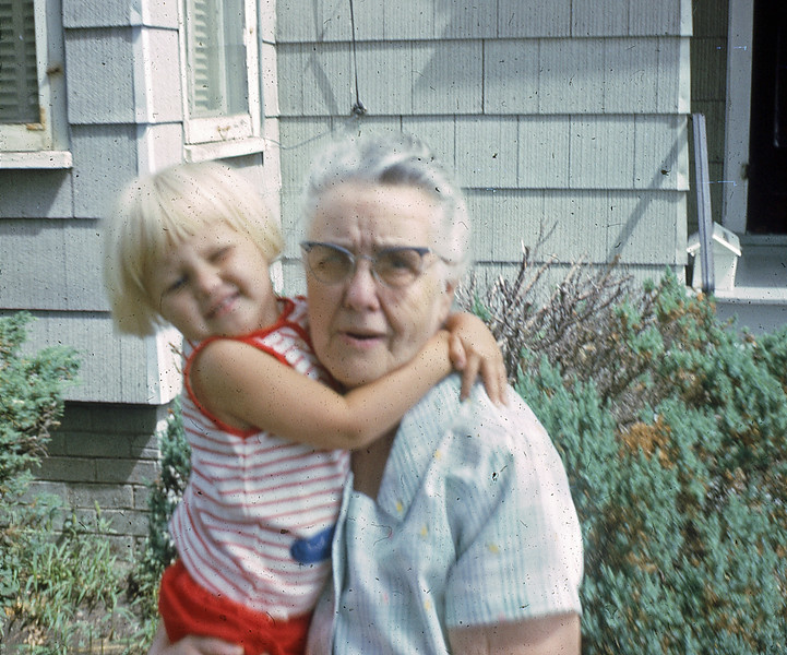 Laura and Laura ... Laurie with her great-grandma Adkins - Sept 66