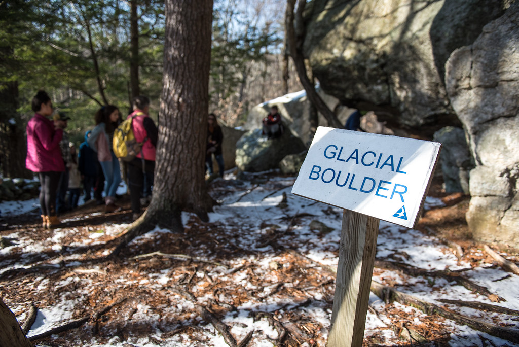 . (01/21/18 PRINCETON MA) A crowd of hikers stop at the Glacial Boulder inside the Wachusett Meadow Wildlife Sanctuary in Princeton on Sunday.  SENTINEL & ENTERPRISE JEFF PORTER