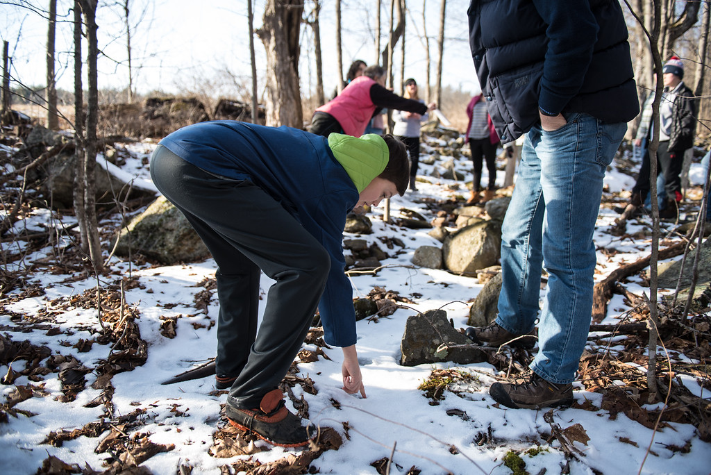 . (01/21/18 PRINCETON MA) Colin Frank, 14, of Grafton, investigates possible bobcat print int he snow during a nature walk on Sunday at the Wachusett Meadow Wildlife Sanctuary in Princeton.  SENTINEL & ENTERPRISE JEFF PORTER