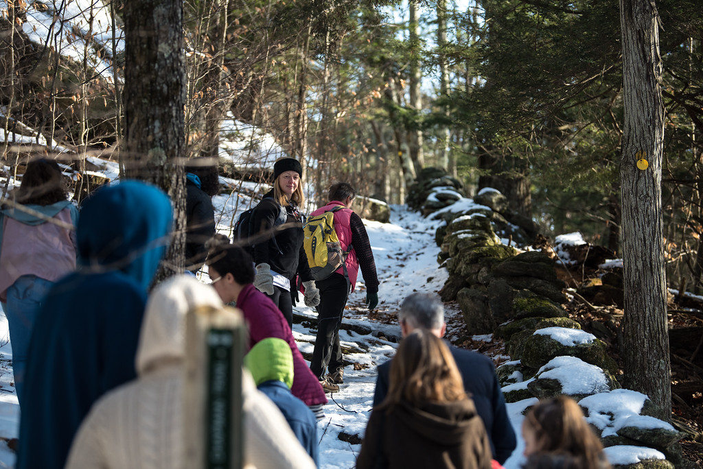 . (01/21/18 PRINCETON MA) Hikers are lead on a nature walk by Naturalist Teacher Clair Degutis on Sunday at the Wachusett Meadow Wildlife Sanctuary in Princeton.  SENTINEL & ENTERPRISE JEFF PORTER