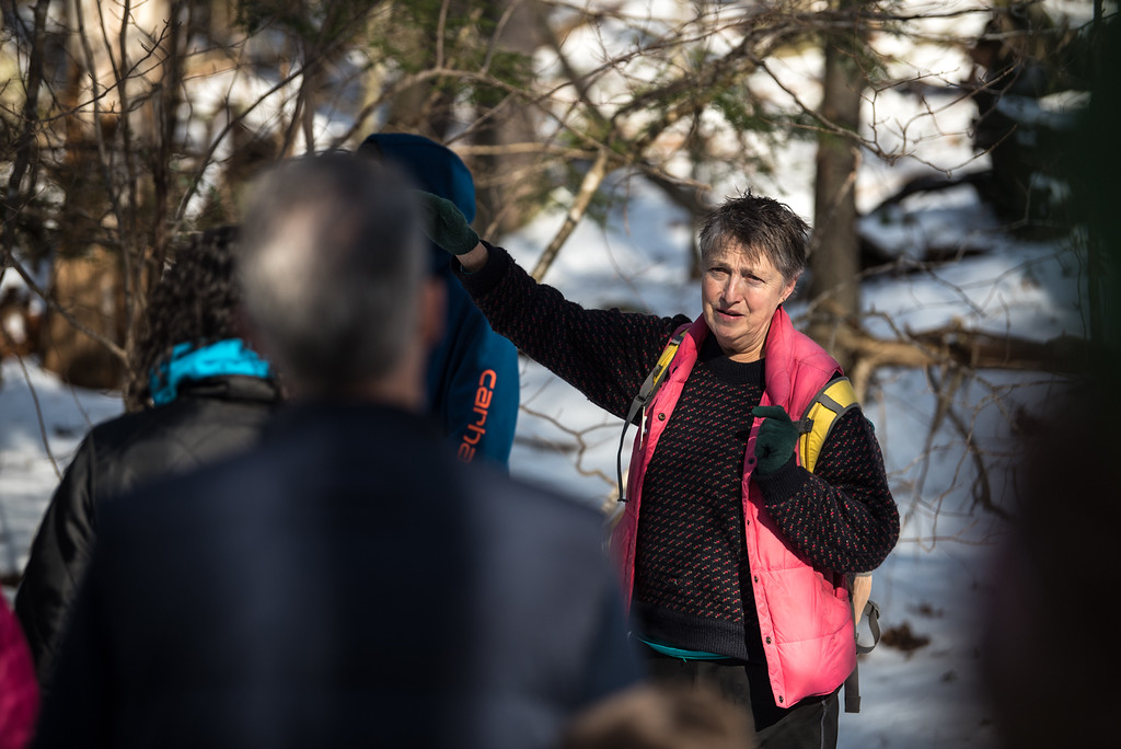 . (01/21/18 PRINCETON MA) Teacher and Naturalist with the Massachusetts Audubon Society explains to hikers the route they\'ll be taking during a nature walk on Sunday at the Wachusett Meadow Wildlife Sanctuary in Princeton.  SENTINEL & ENTERPRISE JEFF PORTER