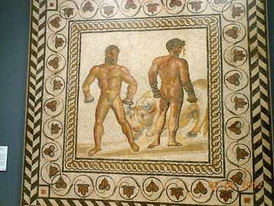 Mosaic Floor with a Boxing Scene Gallo-Roman from present-day Villelaure France 175 CE stone and glass (2)