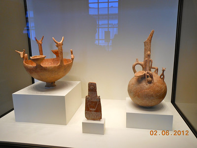 Red polished ware jug with a man and a deer early Cypriot 2300-1650 BCE Terracotta (right side)