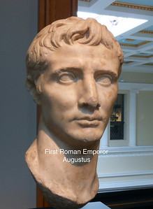 Head of the Emperor Augustus that may have been recarved from a portrait of Caligula as indicated by the wide-open eyes and concave temples Roman 50 CE Marble (1)