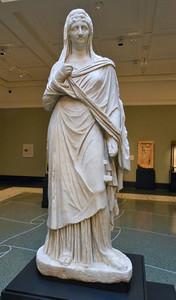 Faustina the Elder; Roman, from Asia Minor (present-day Turkey), A.D. 140-160, Marble Faustina the Elder (died A.D. 141), wife of Emperor Antoninus Pius (Ruled A.D. 138-161) was deified upon her death, and temples were established for her worship. Here the sculptor created an instantly recognizable public image that was suitable for a temple. He combined Faustina's distinctive facial features and hairstyle with a standard female body type called the Large Herculaneum Woman, name for its size and the site where the first example was found. The nose of this statue was missing, but conservators recently reconstructed a new one based on other portraits of the empress.