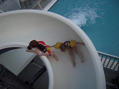 racing down the slide