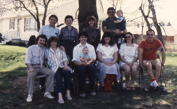 Lacey-Harvey Families gathered at the Harvey home in Lowell MA.  Rear L-R: Jim III, Mary Lacey, Pauline Harvey, Don Harvey (with grandson Hans Weber) Front L-R: John Weber, Doreen (Harvey) Weber, Frank Lacey & son Rory, Donna Harvey-Lacey, Debbie Rossi and husband Jim Lacey IV