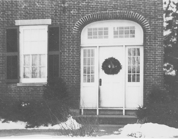 Front entrance to Southbridge MA Lacey family home, Christmas 1954. <br /> White door and surrounding windows were removed for the warm seasons.