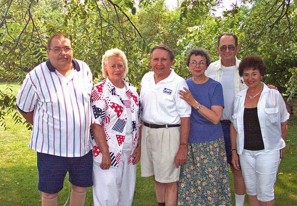 Lacey Family Seniors: L-->R - John Lacey, Joanna Lacey, Jim Lacey, Mary Lacey, Dick Tallman, Joan [Lacey] Tallman