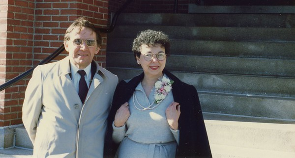 """Jim and Mary Lacey - outside church after wedding of oldest son Jim IV. Younger son Frank correctly identified the coat I was wearing as a 'London Fog"""""""