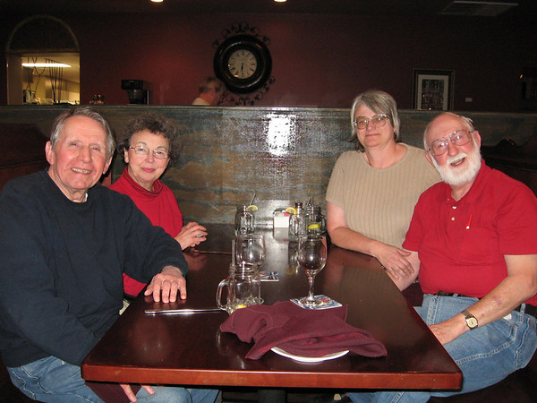 L-->R - Jim Lacey, Mary Lacey, Ann Varnum, Dave Varnum at Fresh Market Resturant, Paris TN circa 2009. Jim and Dave have been friends since the 1940's