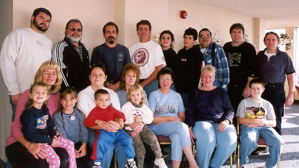 2000 Lacey Family reunion at Canadian Niagara Falls. Lisa Gruss [front row, 4th from right with child in lap] made all the arrangements. Lisa is the daughter of John [second row, third from right] and Joanna Lacey [first row, second from right]. Most of the folks are Lisa's siblings.