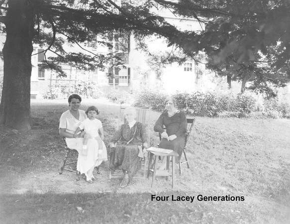 James T. Lacey III is on his mothers lap, Charlotte VanCleve Lacey. Next to her  is Jim's Great Grandmother Henrietta Clark and Grandmother Emily VanCleve. Henrietta lived to age 96. <br /> <br /> Photo taken at the Family Home in Southbridge MA circa 1935.