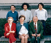 Three Generations of the James T. Lacey Family <br /> Front Row: Charlotte Lacey, Mary Lacey, Dr. James Lacey<br /> Back Row, Jim III. Jim IV, Frank <br /> <br /> Photo at Groton School, Ayer MA.
