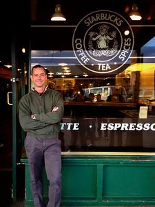 Scott Barr outside Starbucks #1 Seattle Washington June 2014
