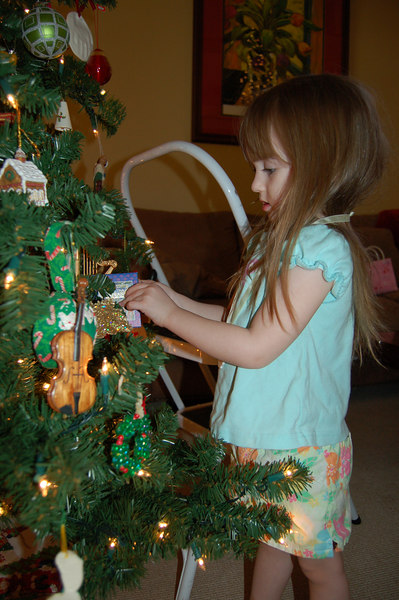 Ainsley helped decorate the christmas tree this year.