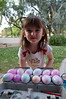 A proud Ainsley with her creations.