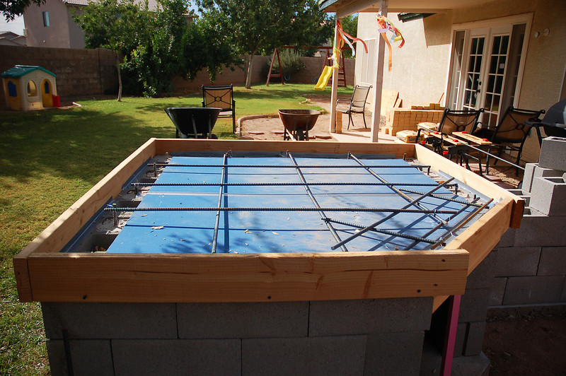 Frame and rebar, ready for the pour.
