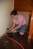 Liz came up to the cabin to help us install the new bamboo floors upstairs.