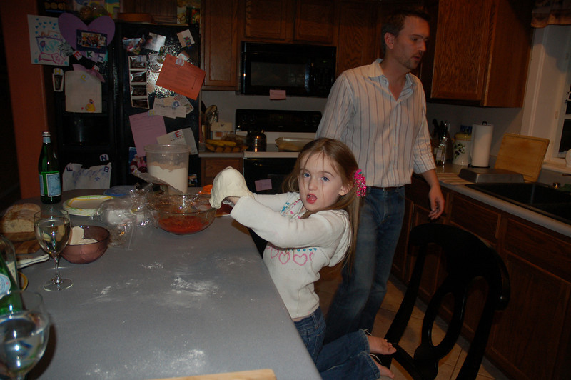 Drew has been teaching Ainsley how to toss pizza dough.  She's already about as good as I am!