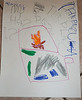 Ainsley's illustration of the pizza oven.  She insists that it's not artwork, it's a poster.  Translation:  My house is the pizza place.  The Pizza Oven.