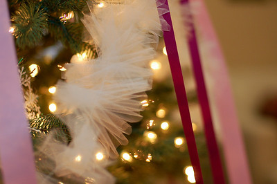 Inside was a winter wonderland.  The tree was decked entirely in tulle garland, snowflake ornaments, and purple ribbons.