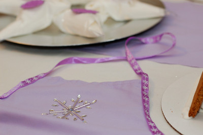 Detail of the snowflake aprons I made.