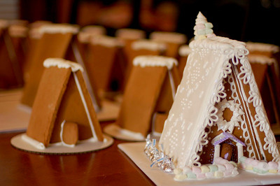 I totally stole most of this design from my mom.  Love the icing roof with the piped design!  It was too gorgeous not to use.
