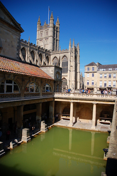 In the Roman baths in Bath.